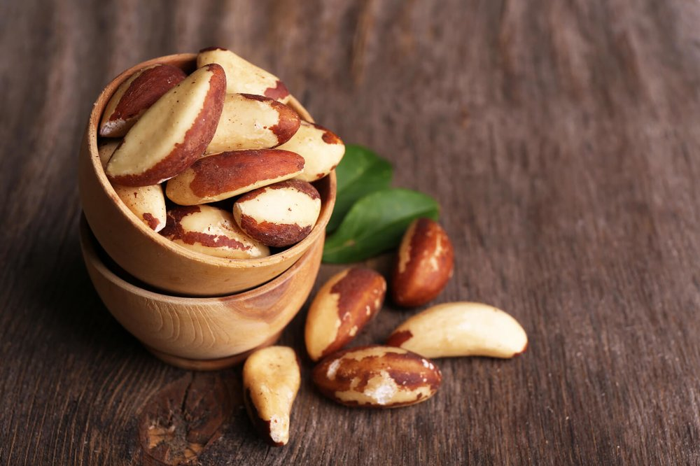Contrary to almonds, Brazil nuts are big, so you only need to consume about 2-3 nuts per day to up your intake and get the benefits. Make sure to check your portion size when eating brazil nuts.